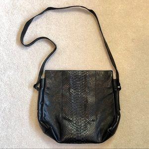 B.May Blk Lthr & Python Crossbody Bag